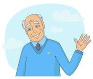 Älterer Mann, der seine Hand wellenartig bewegt lizenzfreies stockfoto