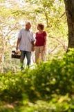 Älterer Mann-Frauen-alte Paare, die mit Picknick-Korb gehen Lizenzfreie Stockfotos
