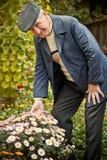 Älterer Mann mit Blume lizenzfreie stockfotografie