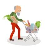 Älterer Mann mit dem Warenkorb voll vom Lebensmittel Großvater auf Marktvektorillustration lokalisierte weißen Hintergrund vektor abbildung