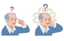 Älterer Mann mit Geste des Vergessens etwas Stockbild