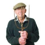 Älterer Mann mit Hilfsmittel lizenzfreie stockbilder