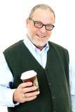 Älterer Mann mit Kaffee Stockfotos