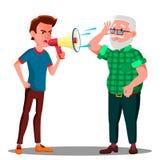 Älterer Mann-Vektor Guy Screaming To Hearing Impaireds Lokalisierte Karikaturillustration vektor abbildung
