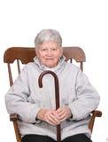 Älterer mit Stock Stockfoto