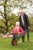 Älterer Paar-Mann, der Frauen-Fahrt in der Schubkarre gibt Stockfotografie