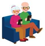 Älterer Paarehemann und -frau mit einer Computertablette stock abbildung