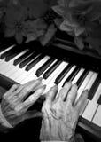 Älterer Pianist stockfoto