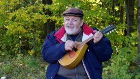 Älterer singender Mann beim Spielen der Mandoline und Sitzen auf Reinigung im herbstlichen Wald stock video footage