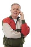 Älterer am Telefon Stockfotos