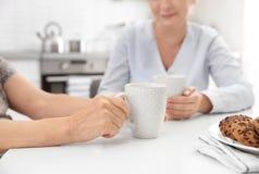 Älterer trinkender Tee der Frau und der Pflegekraft zu Hause stockfotografie