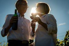 Älterer trinkender Wein der Frau und des Mannes im Weinberg Stockfotos