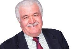 Älterer weißes Haar-Mann, der Trustfully lächelt lizenzfreie stockfotografie