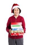 Älteres asiatisches feierndes Weihnachten stockfotografie
