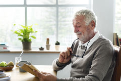 Älteres erwachsenes Lesebuch-Freizeit-Hobby-Konzept lizenzfreie stockfotografie