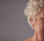 Älteres Frauengesicht mit geknitterter Haut Stockbild