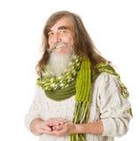 Älteres glückliches Lächeln des alten Mannes. Langes Haar, Schnurrbart, Bart Stockfotografie