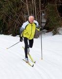 Älteres männliches Querland-Skifahren Lizenzfreie Stockfotografie