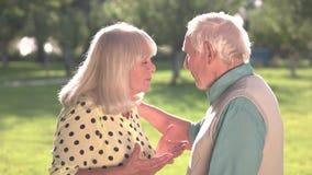 Älteres Paar argumentiert stock video footage