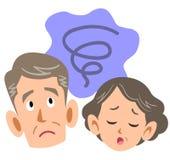 Älteres Paar, das beunruhigt wird lizenzfreie abbildung