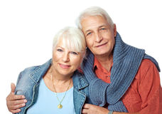 Älteres Paarporträt, das glücklich schaut Lizenzfreies Stockbild