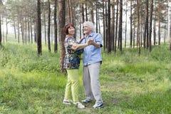Älteres Paartanzen in einem Sommerwald Lizenzfreie Stockbilder
