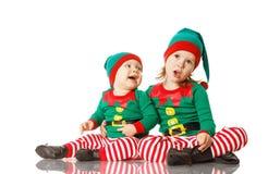 Älva för barn för julbegrepp två isolerad gladlynt Fotografering för Bildbyråer