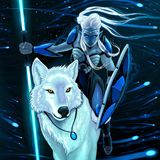 Älva med den vita vargen royaltyfri illustrationer