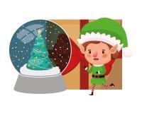 Älva med gåvaasken och kristallkula stock illustrationer