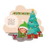 Älva med julträdet och gåvor vektor illustrationer