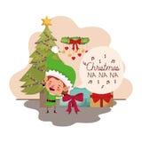 Älva med julträdet och gåvor stock illustrationer