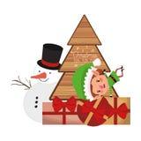 Älva med julträdet och snögubbe stock illustrationer