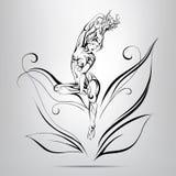Älva med sagolikt hår av ris.  illustration stock illustrationer