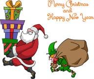 Älva och Santa Claus royaltyfri illustrationer