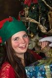 Älva som hjälper Santa Claus Arkivfoton