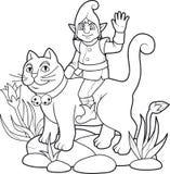 Älva som rider en katt Royaltyfria Bilder