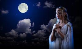 Älvaflicka på bakgrund för natthimmel Royaltyfri Bild