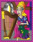 Älvaflickan med behandla som ett barn draken Royaltyfri Illustrationer