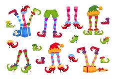 Älvafot Älvafot i skor och hatt Juldvärgben i flåsanden med santa den gåvor isolerade vektoruppsättningen royaltyfri illustrationer