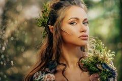 Älvakvinna i en skog Arkivbilder