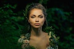 Älvakvinna i en skog arkivfoto