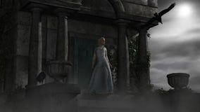 Älvakvinna i gammal spöklik mausoleum i månsken stock illustrationer