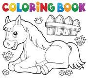 Ämne 1 för häst för färgläggningbok Arkivbilder