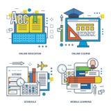 Ämnen av denna illustration - modern utbildning och typlärande teknologierna stock illustrationer