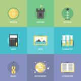 Ämnen för allmän utbildning sänker symboler stock illustrationer