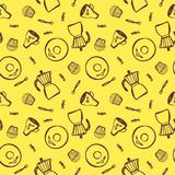 Ämnen för kaffe hand-dragen geyserkaffebryggare, tefat, kopp, sked, godis och en muffin också vektor för coreldrawillustration stock illustrationer