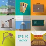 Ämnen för skolan, byggnad, påse, skolaskrivbord, skolablyertspennafall royaltyfri illustrationer