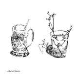 Ämnen i ett kök Skissa teckningen vektor illustrationer