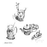 Ämnen i ett kök Skissa teckningen stock illustrationer