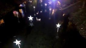 ?nder och gooses som simmar i ett damm som dekoreras med julstj?rnor En scenisk saga lager videofilmer